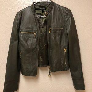 Bebe green moto leather jacket